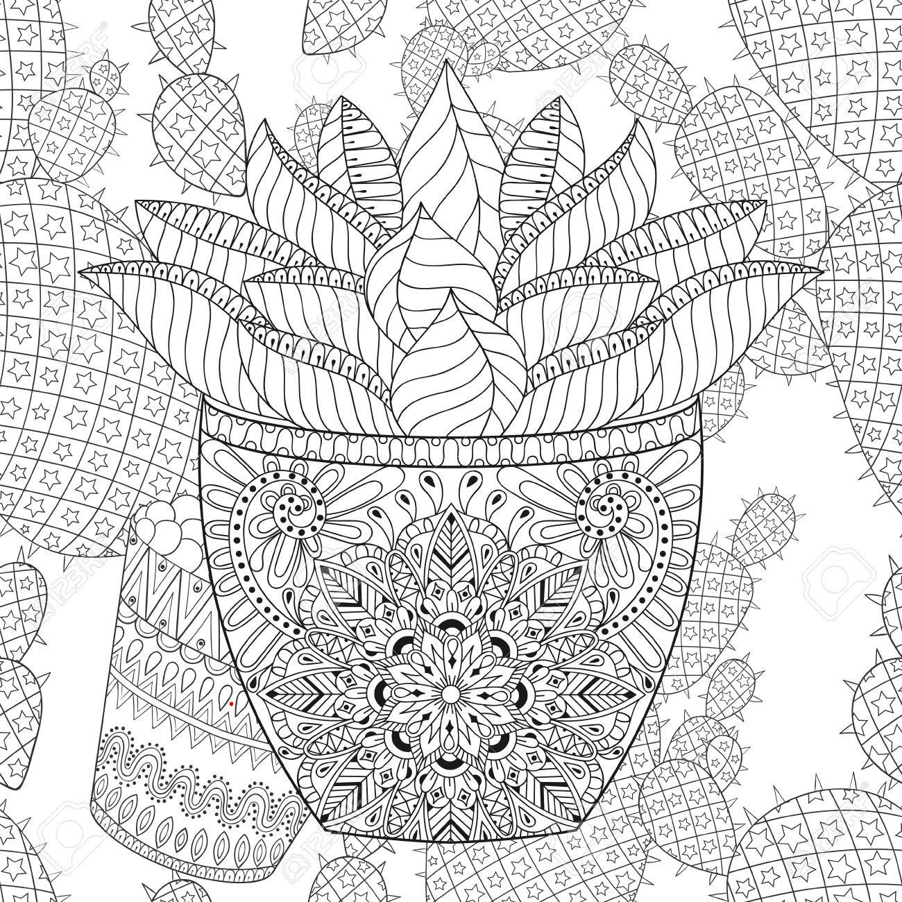 1300x1300 Succulent On Cactus Seamless Pattern.outline Desert Plant