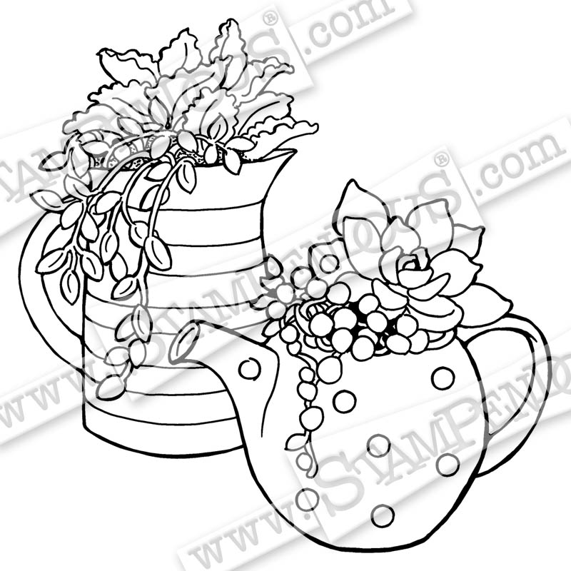 800x800 Potted Succulents Rubber Stamp