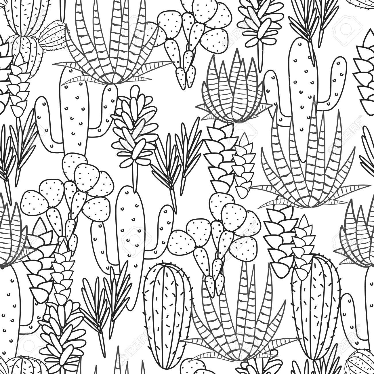 1300x1300 Succulents Cacti Plant Vector Seamless Pattern. Botanical Black