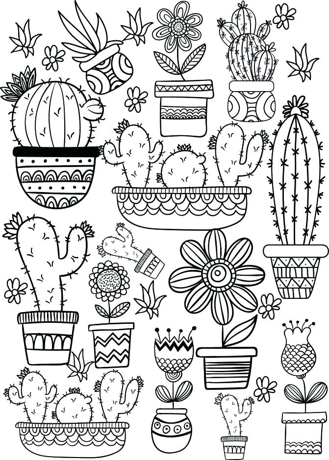 671x939 Cactus Coloring Pages