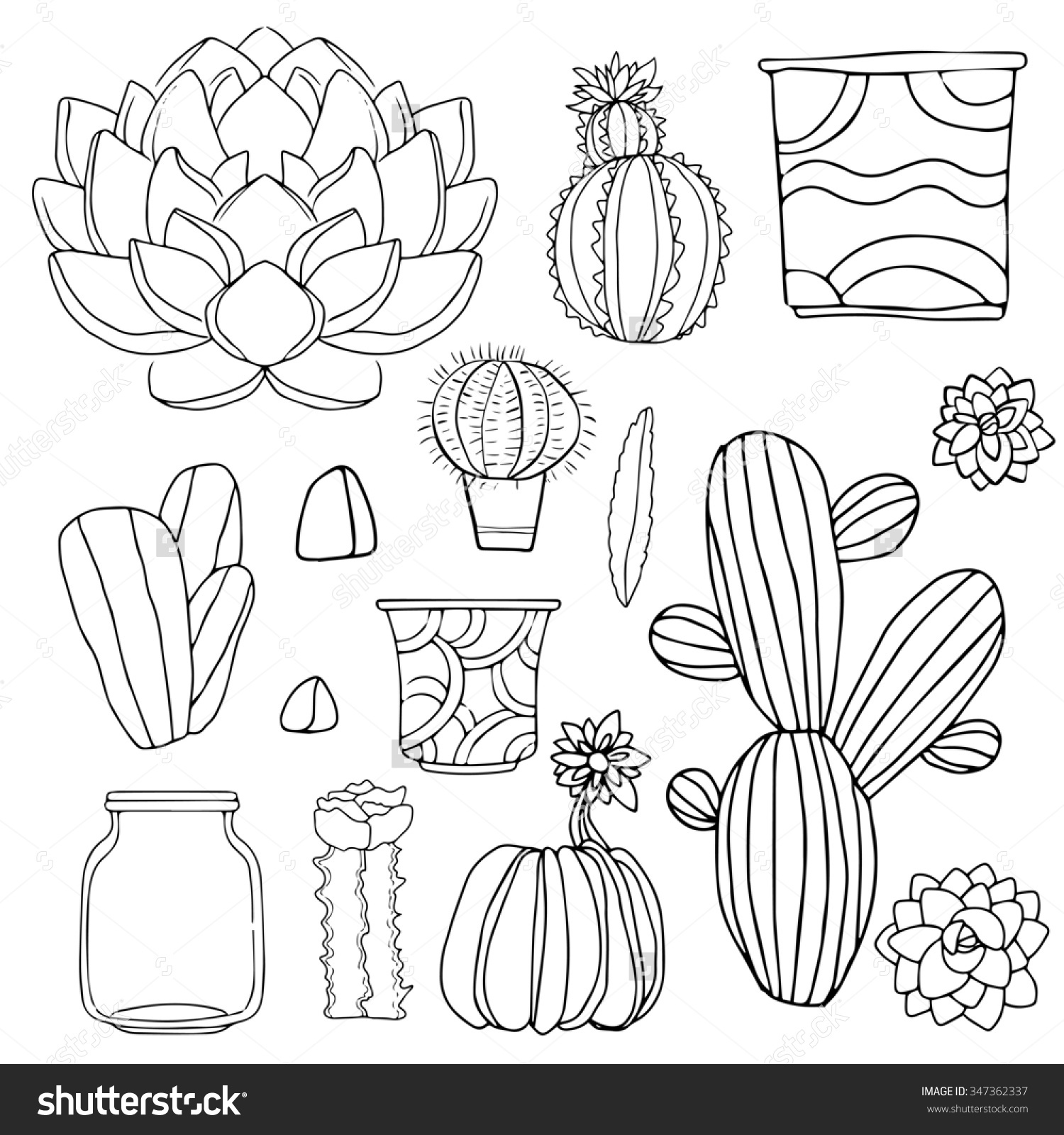 1500x1600 Cacti Watercolor Set Succulents Home Flowers Houseplants In Save