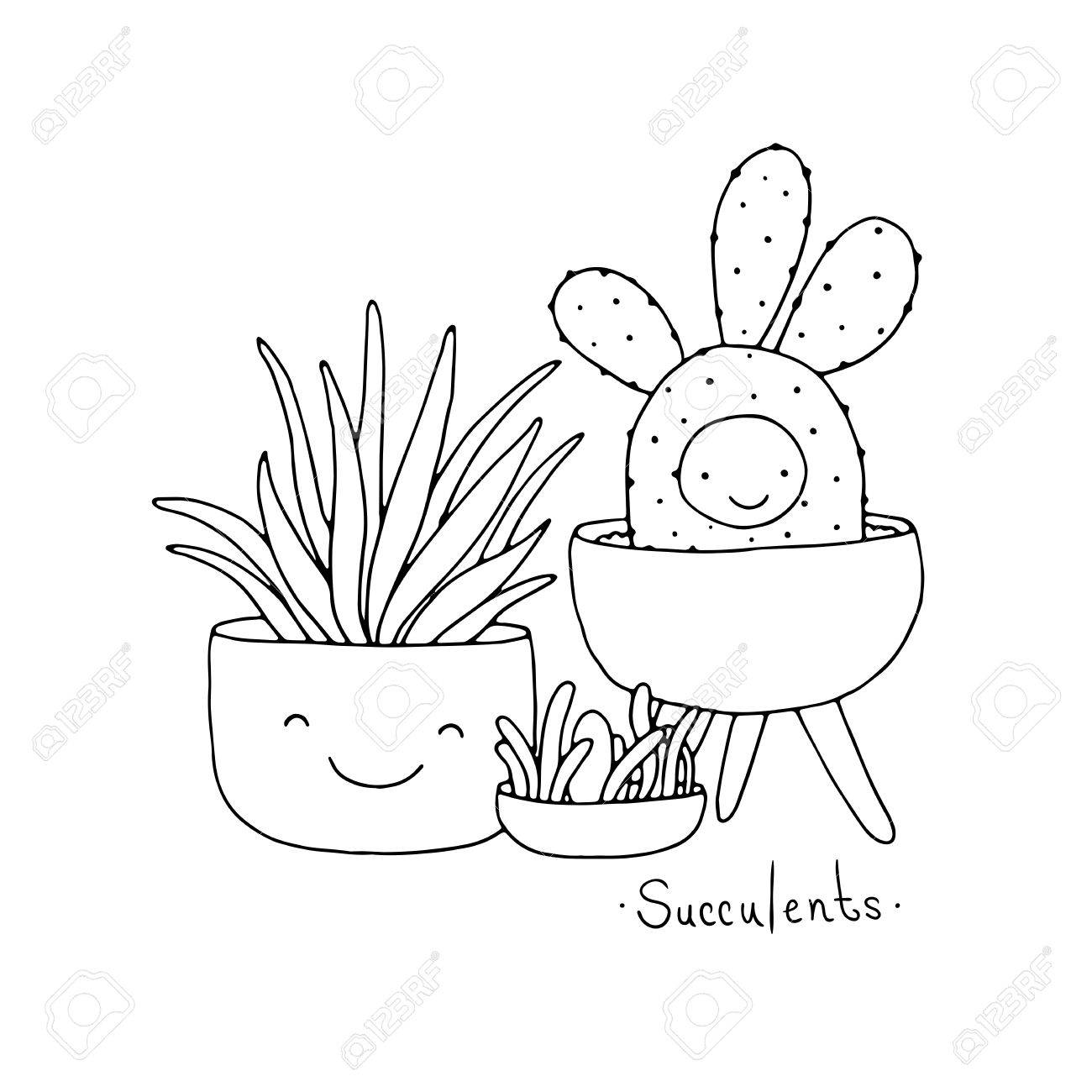 1300x1300 Cartoon Cute Succulents In Pot. Hand Drawing Isolated Objects