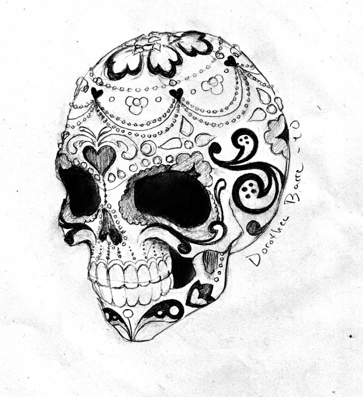 It is an image of Canny Black And White Sugar Skull Drawing