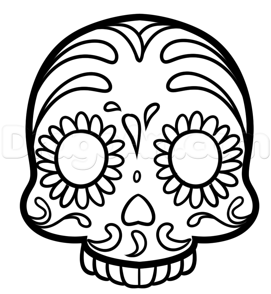 897x973 Simple Sugar Skull Drawing How To Draw A Sugar Skull Emoji, Step