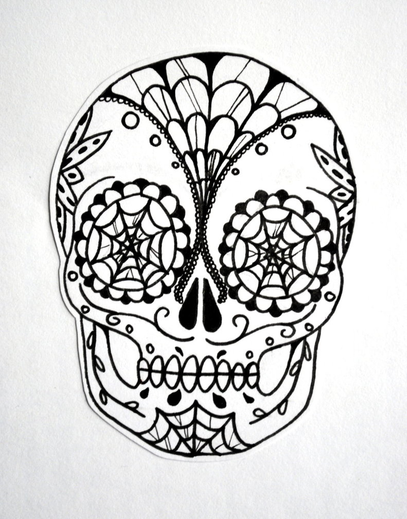 791x1010 Sugar Skull (Black And White) By Shinigamixandie