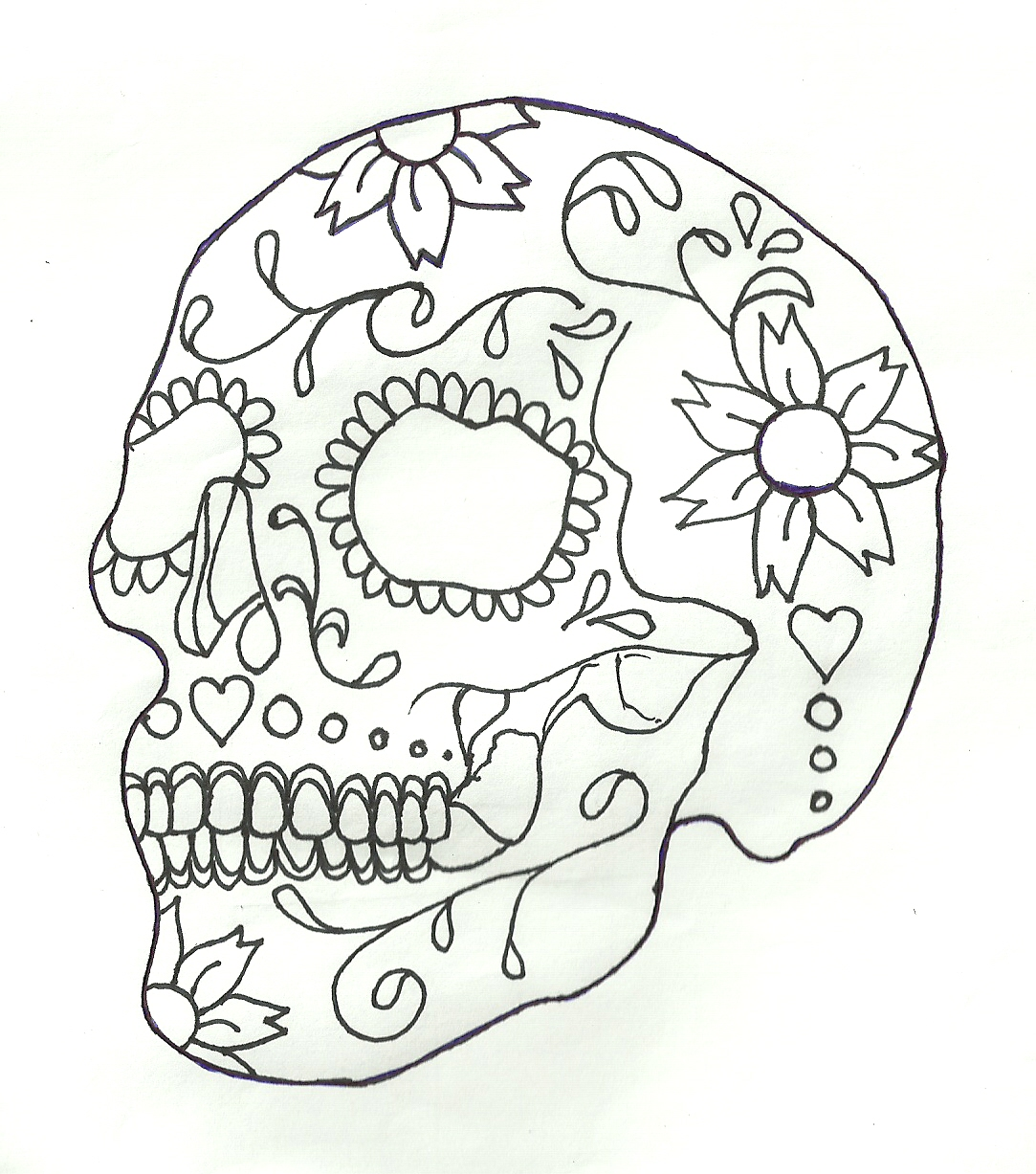 This is an image of Resource Black And White Sugar Skull Drawing