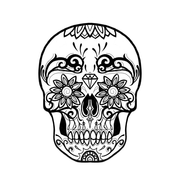 630x630 Sugar Skull Black And White Line Drawing