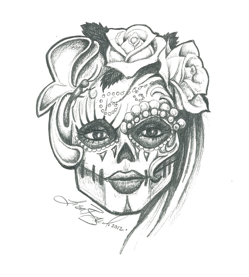 800x888 Sugar Skull Sketch By Leelab