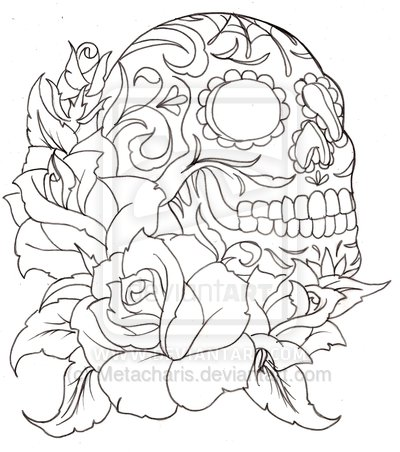 400x452 Sugar Skull Tattoo By On @