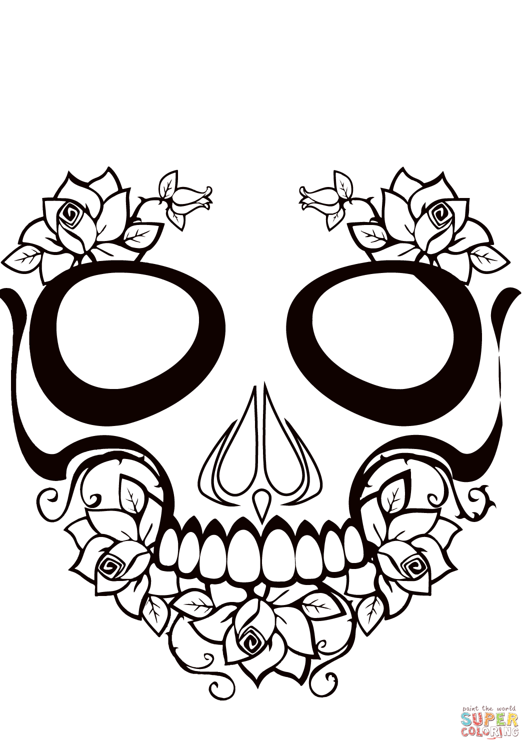 Sugar Skull Black And White Drawing at GetDrawings.com | Free for ...