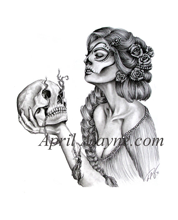 570x703 Sugar Skull Illustration Dia Los Muertos Skull Black