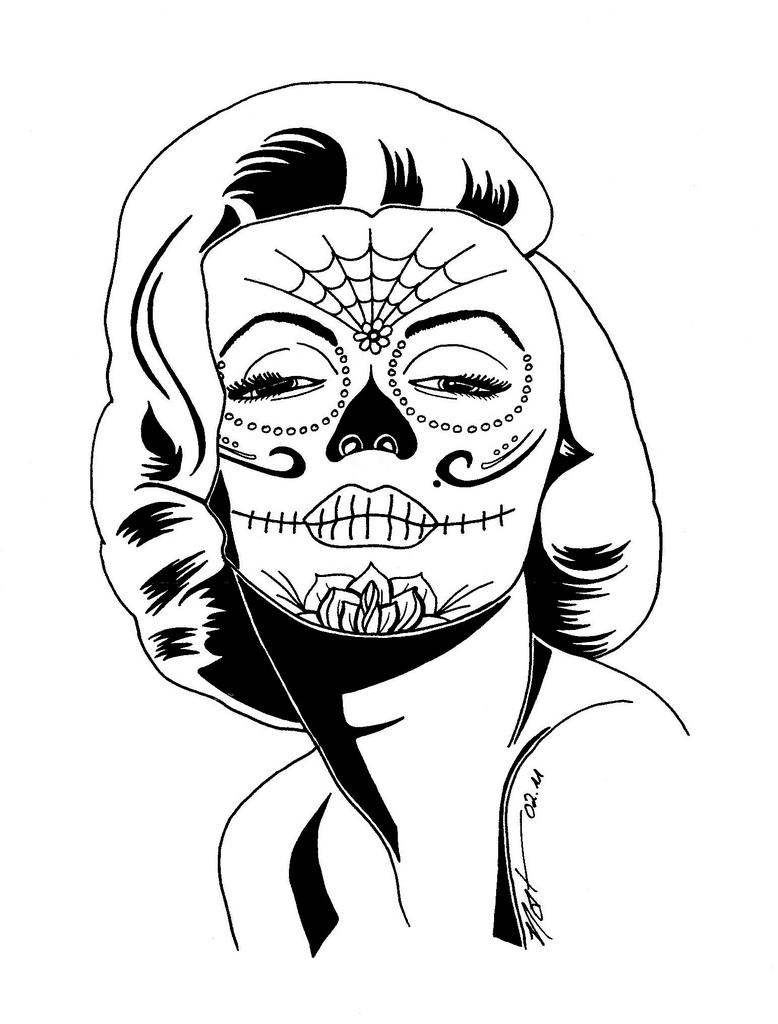 778x1024 Marilyn Monroe Sugar Skull Coloring Pages Marilyn Monroe