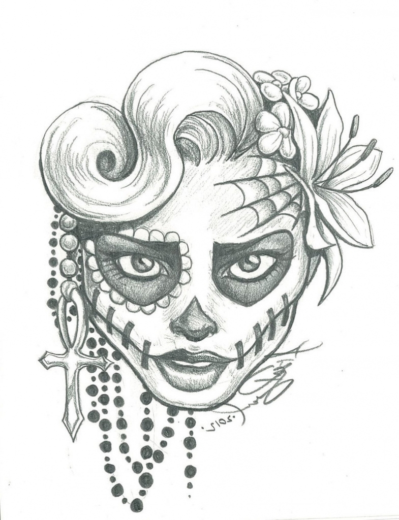 785x1024 Drawing A Sugar Skull How To Draw A Sugar Skull Easy Sugar