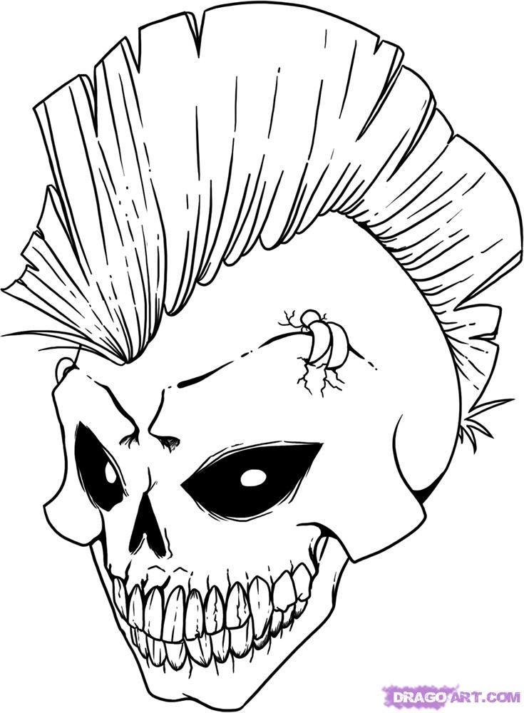 735x1000 Evil Skull Coloring Pages Evil Skull Coloring Pages Printable