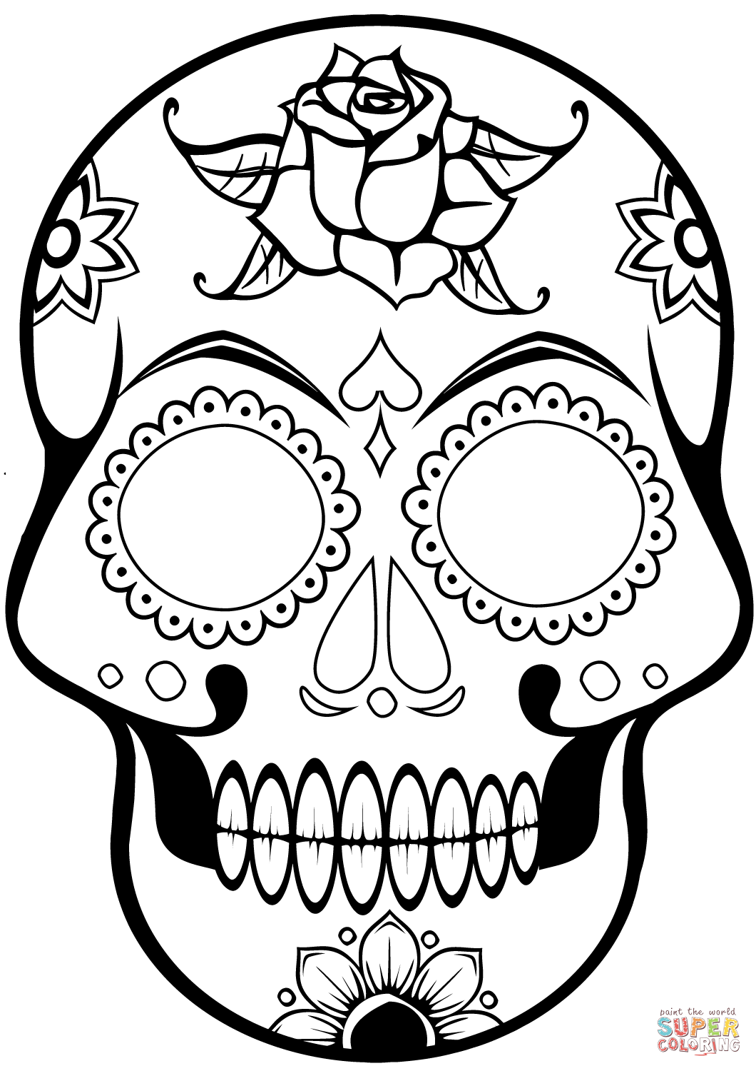 Easy Sugar Skull Coloring Pages - Worksheet & Coloring Pages