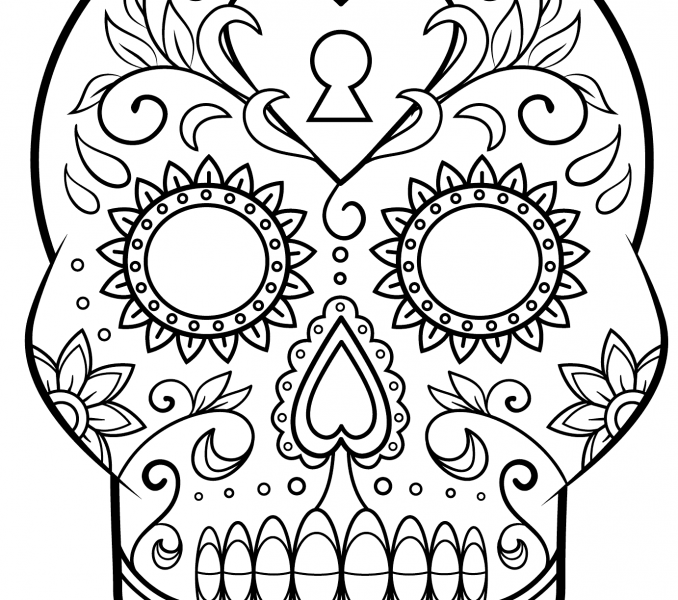 Sugar skull drawing template at free for for Day of the dead skull mask template