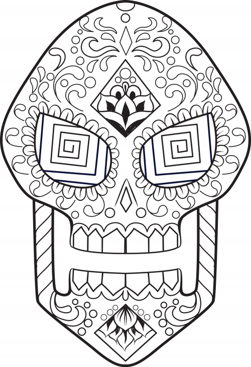 Sugar skull drawing template at free for for Simple sugar skull coloring pages