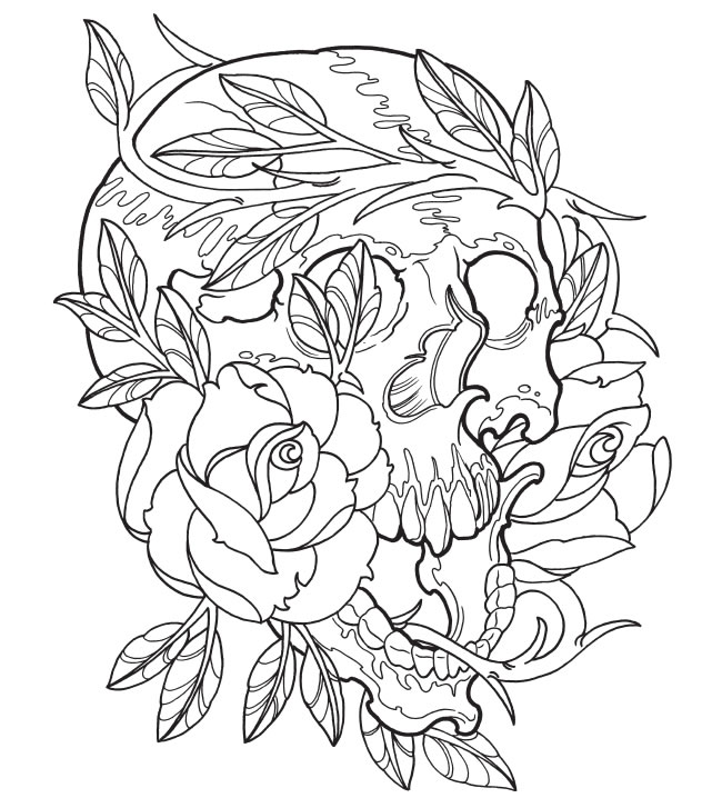 650x718 Best Sugar Skull Tattoo Coloring Pages Contemporary