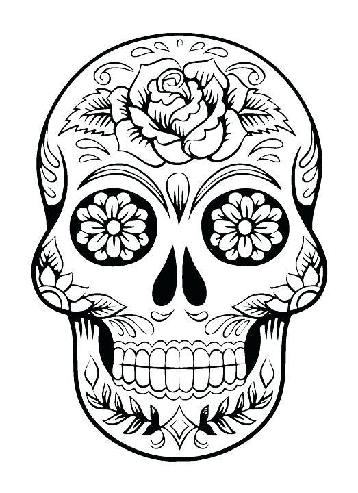 523x720 Colorful Sugar Skull Hard Coloring Page Of Sugar Skull To Print