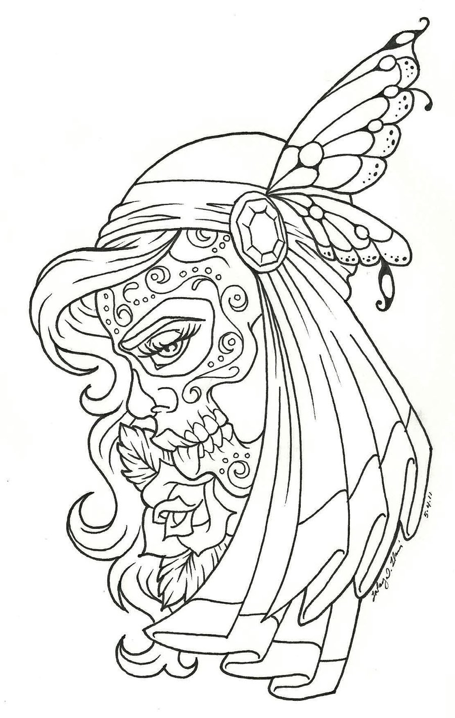 900x1420 Girl Face Tattoo Sugar Skull On Day Of The Dead Outline