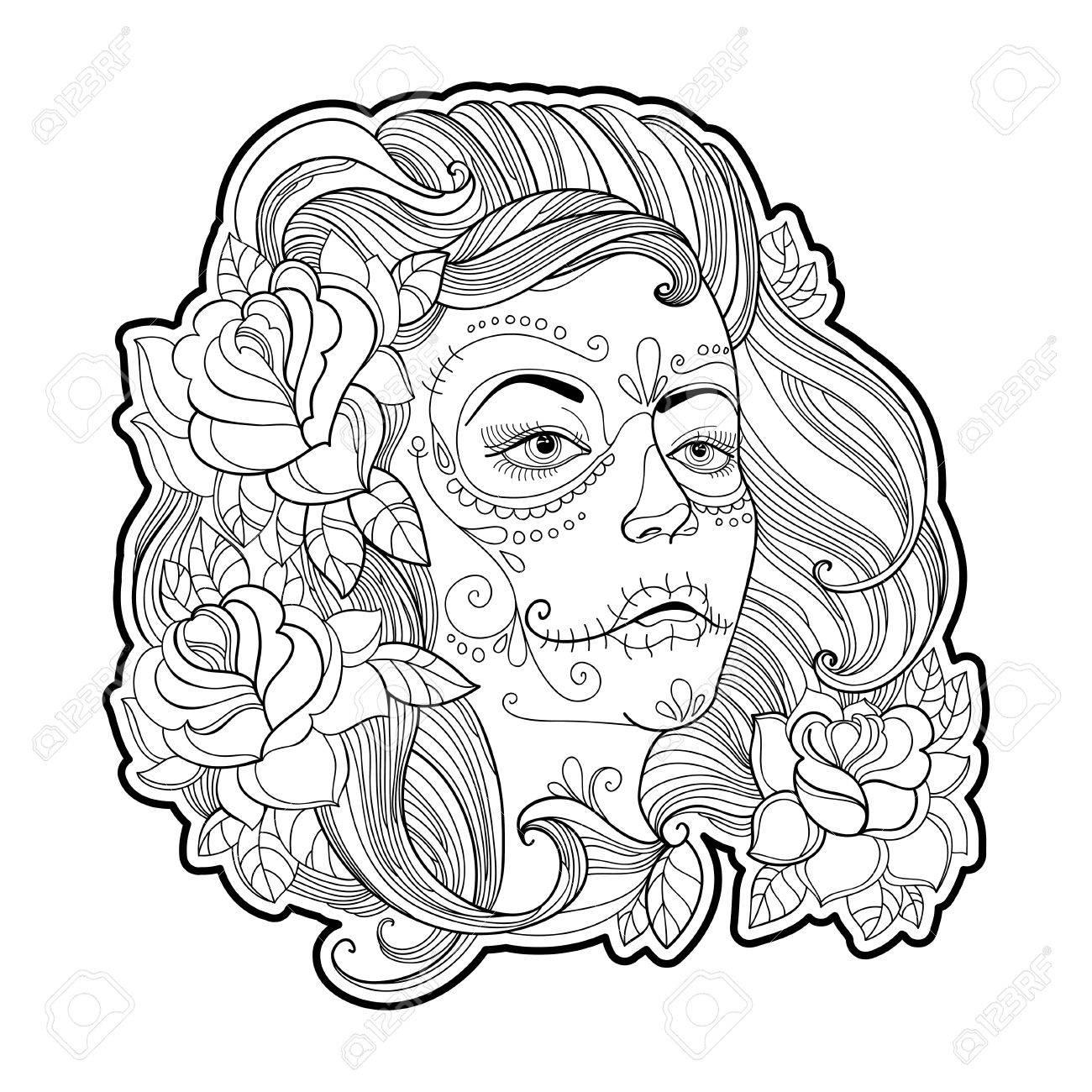 1300x1300 Girl Face With Sugar Skull Or Calavera Catrina Makeup And Roses