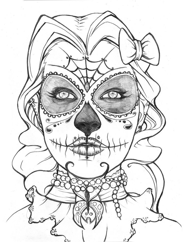 736x949 Halloween Sugar Skull Coloring Pages