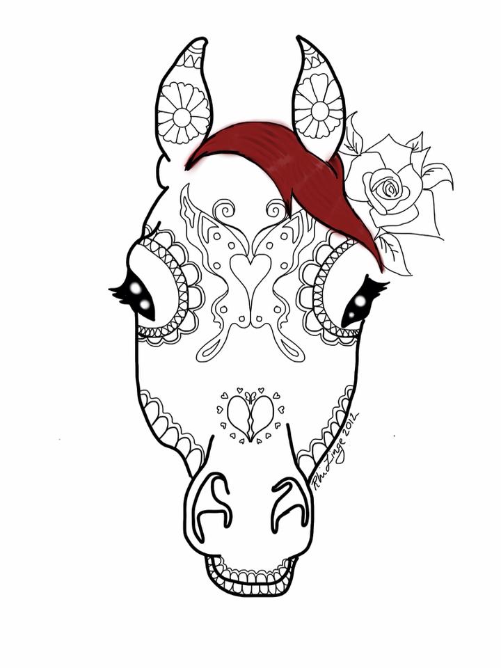 720x960 Horse Face Sugar Skull By Rhidraw