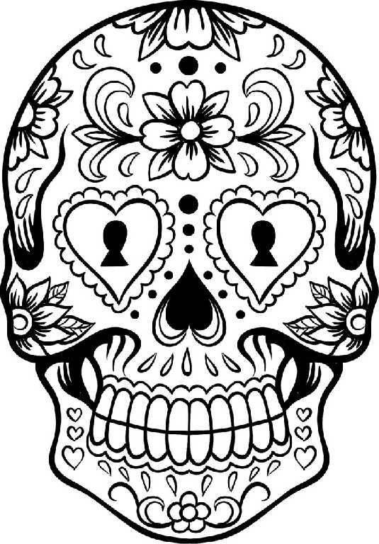 535x768 Skull Coloring Sheets
