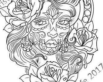 340x270 Skull Coloring Etsy