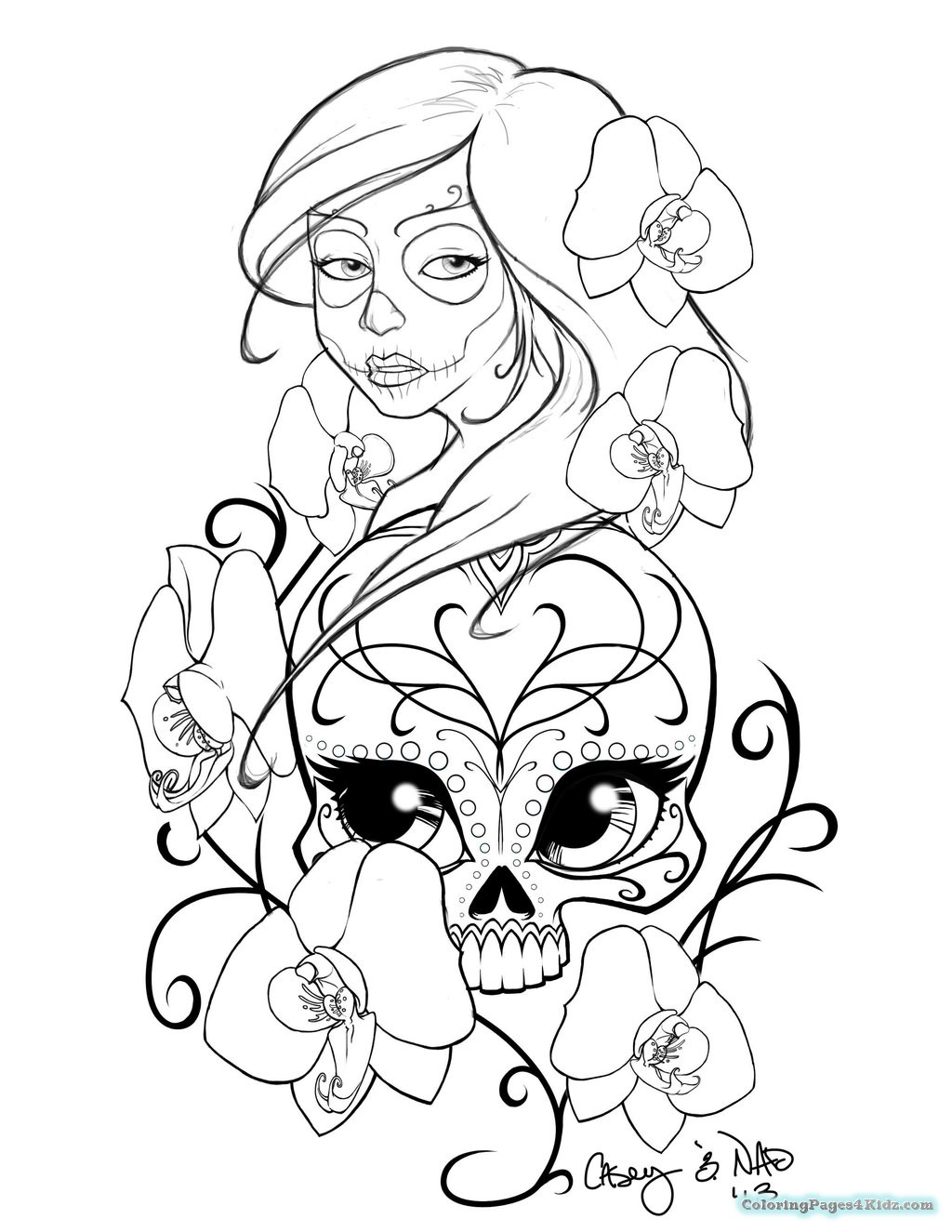 1024x1325 Sugar Skull Coloring Pages Coloring Pages For Kids