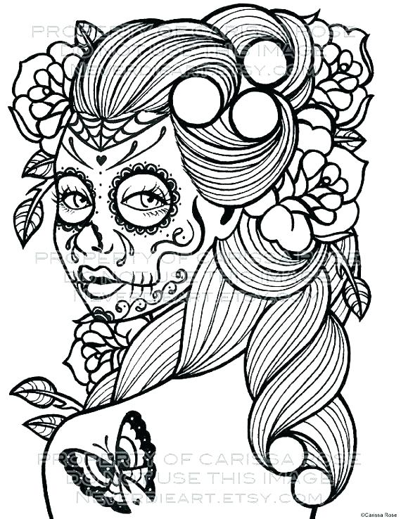 570x738 Sugar Skull Coloring Pages Free Day Of The Dead Skull Coloring