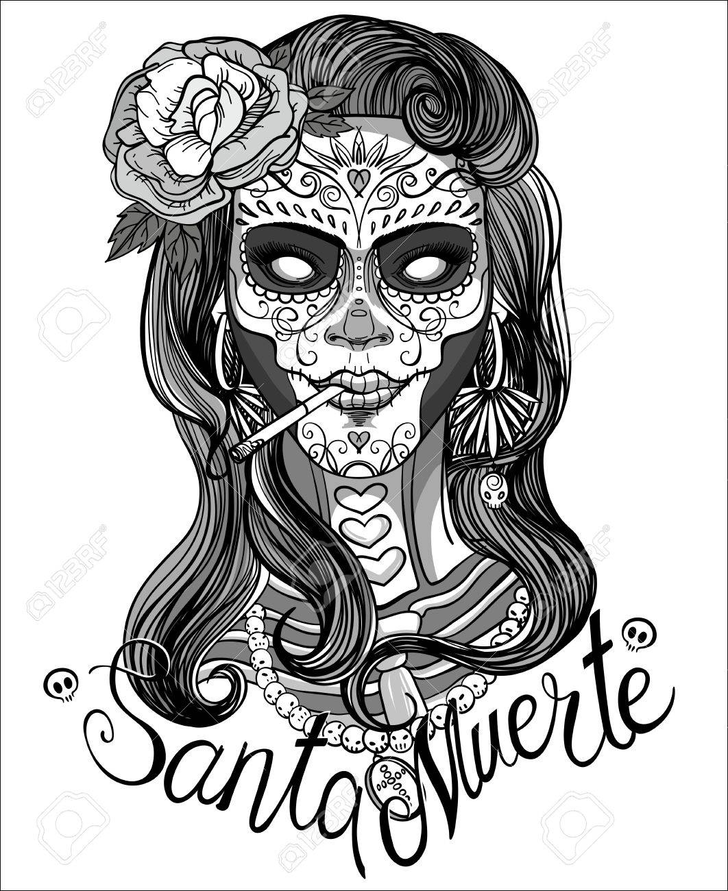1062x1300 Woman With Sugar Skull Makeup, Day Of The Dead Royalty Free