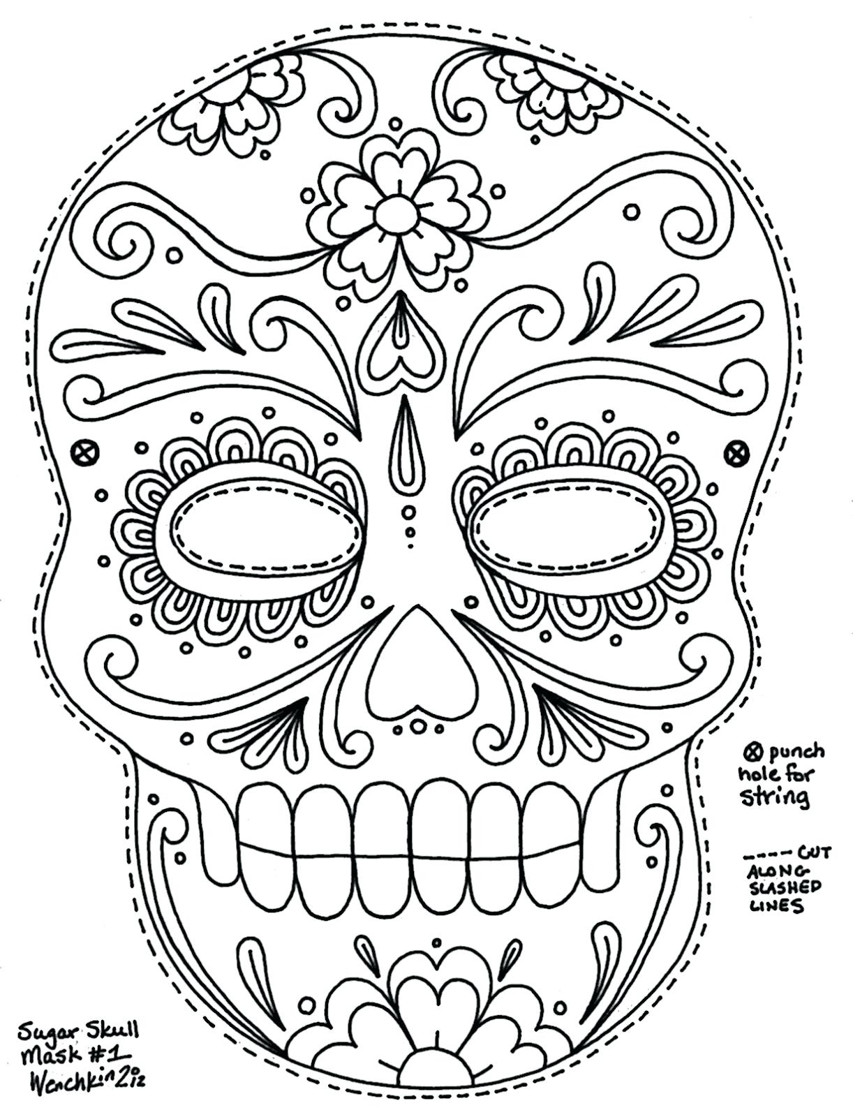 1222x1600 Printable Sugar Skull Coloring Pages Printable