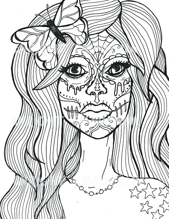 570x738 Classy Sugar Skull Coloring Page New Girl Pages Of Skulls