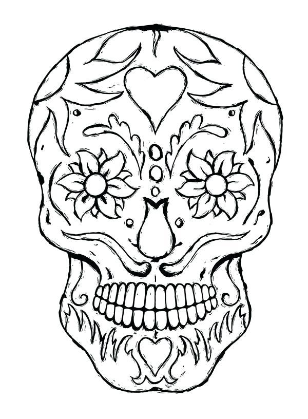 600x816 Coloring Pages Sugar Skulls Sugar Skull Coloring Page Coloring