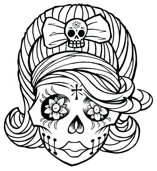 500x547 Skull Coloring Page Sugar Skull Coloring Pages Printable Pages