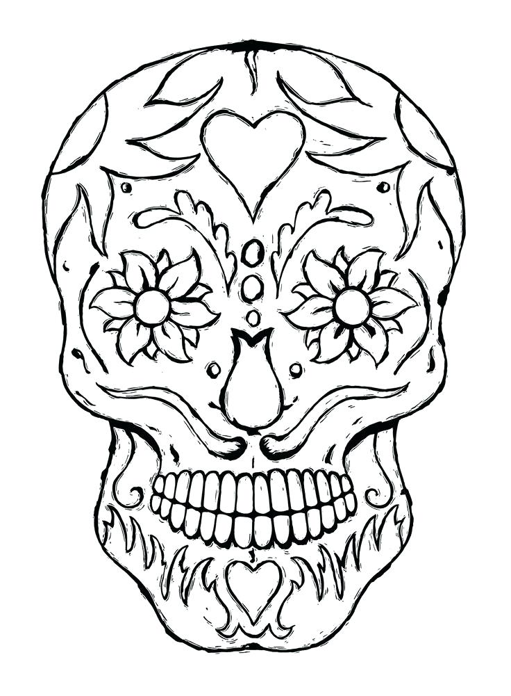 736x1001 Skull Coloring Pages To Print Day Of The Dead Adult Coloring Hand