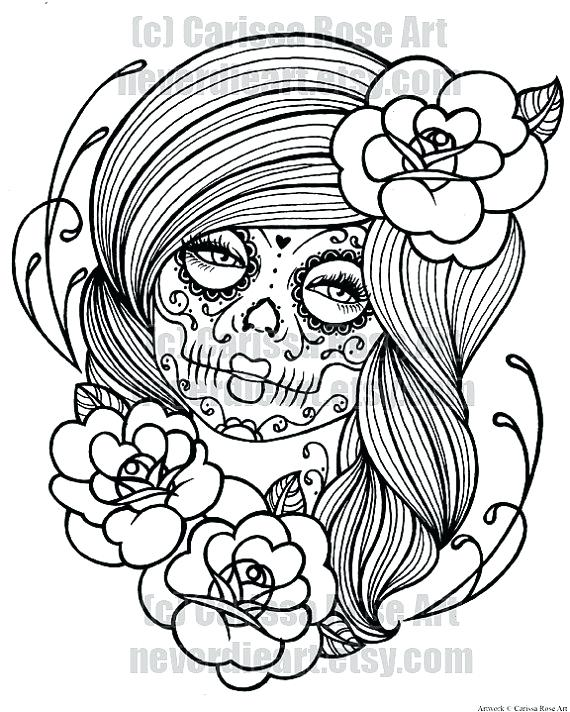 570x712 Sugar Skull Color Pages Day Of The Dead Sugar Skull Coloring Pages