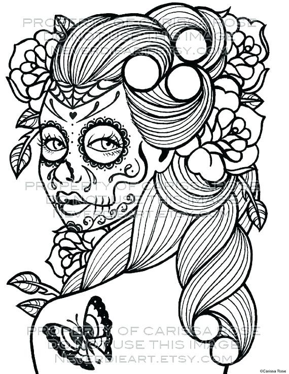 570x738 Sugar Skull Color Pages Sugar Skulls Coloring Pages Free Sugar
