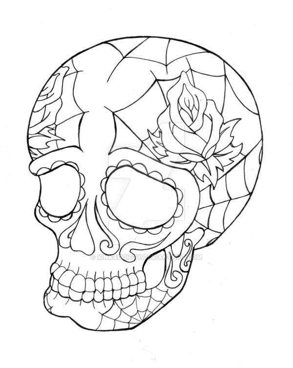 600x755 Sugar Skull Lineart By Xinkaddictx