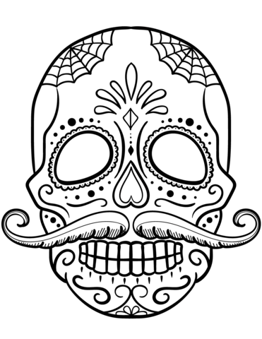 371x480 Sugar Skull With Mustache Coloring Page Free Printable Coloring