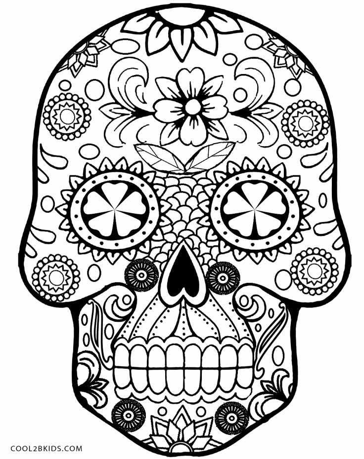 736x930 Sugar Skulls Coloring Pages