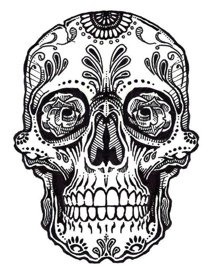 736x940 Coloring Pages Mexican Skulls Drawings Sugar Skull Drawings