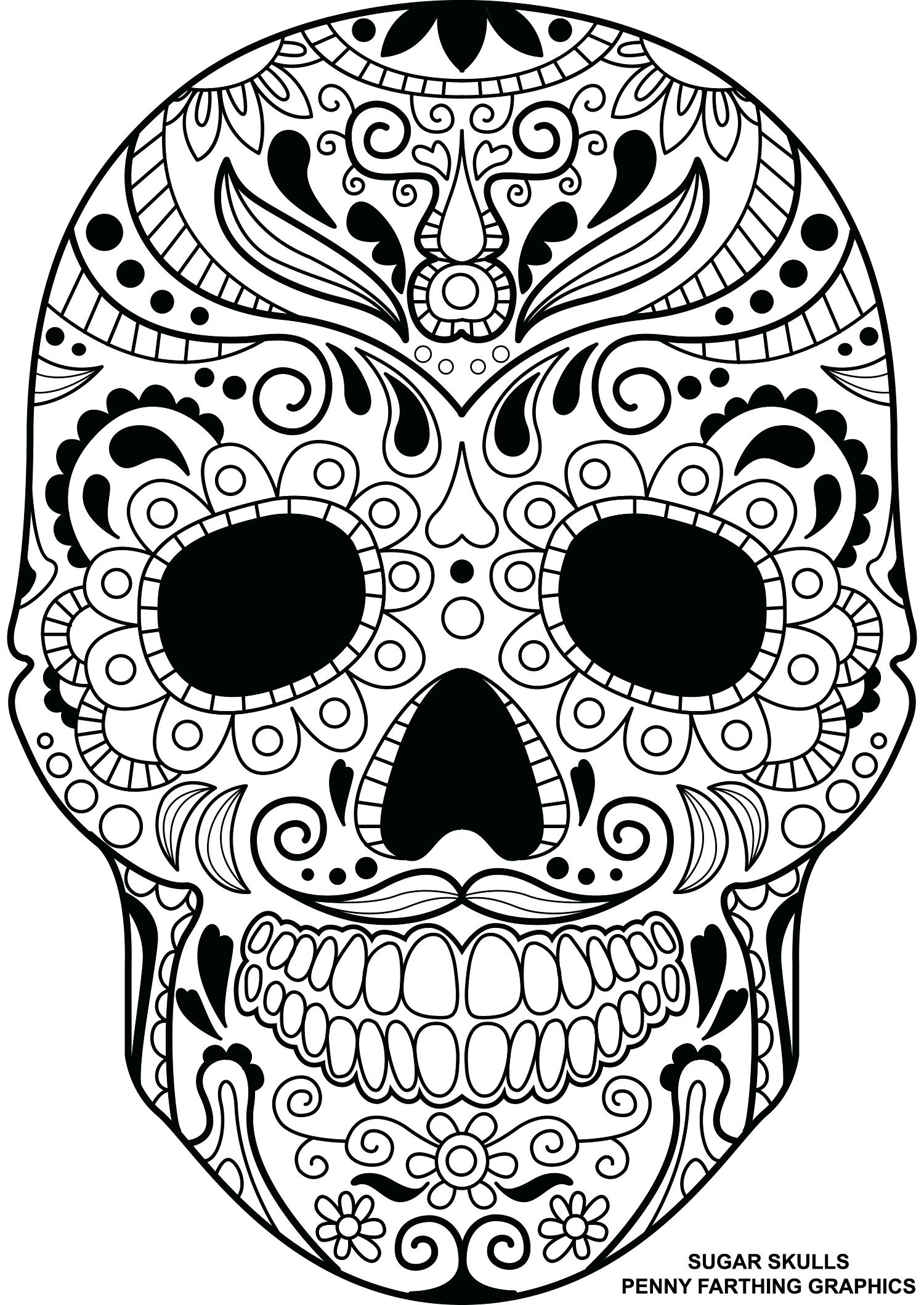 1500x2118 Coloring Pages ~ Sugar Skulls Coloring Pages Beautiful Skull Page