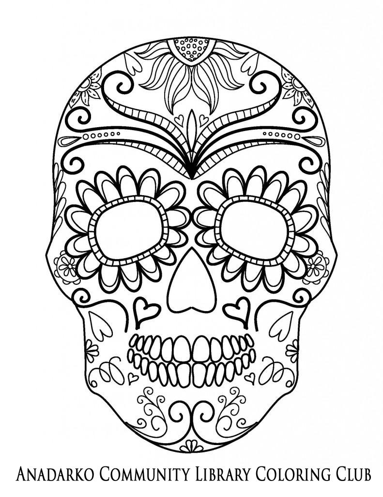 791x1024 Sugar Skull Ornate Forehead Coloring Club Sugar