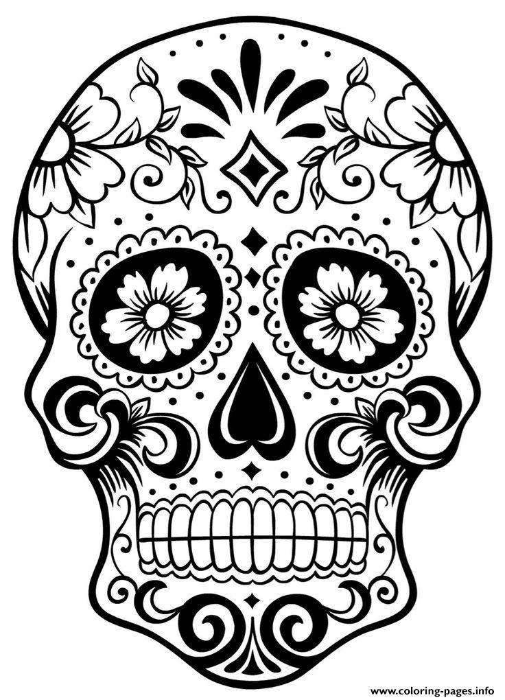736x1020 Simple Sugar Skull Coloring Pages To Sweet Draw Photo Printable