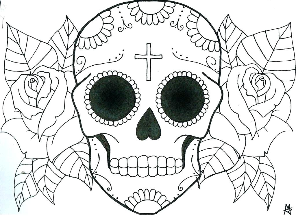 1024x747 Sugar Skull Color Pages Skull Coloring Page Sugar Skull Coloring