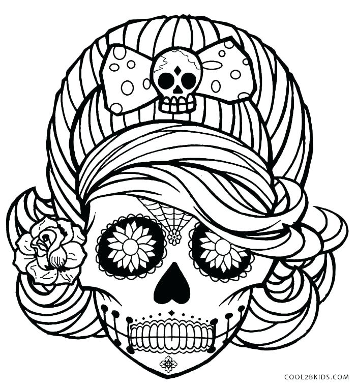 700x761 Sugar Skull Color Pages Sugar Skulls Coloring Pages Free Sugar