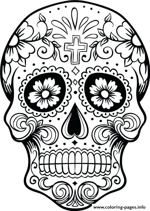 519x730 Sugar Skull Coloring Book Also Sugar Skull Printable For Adults
