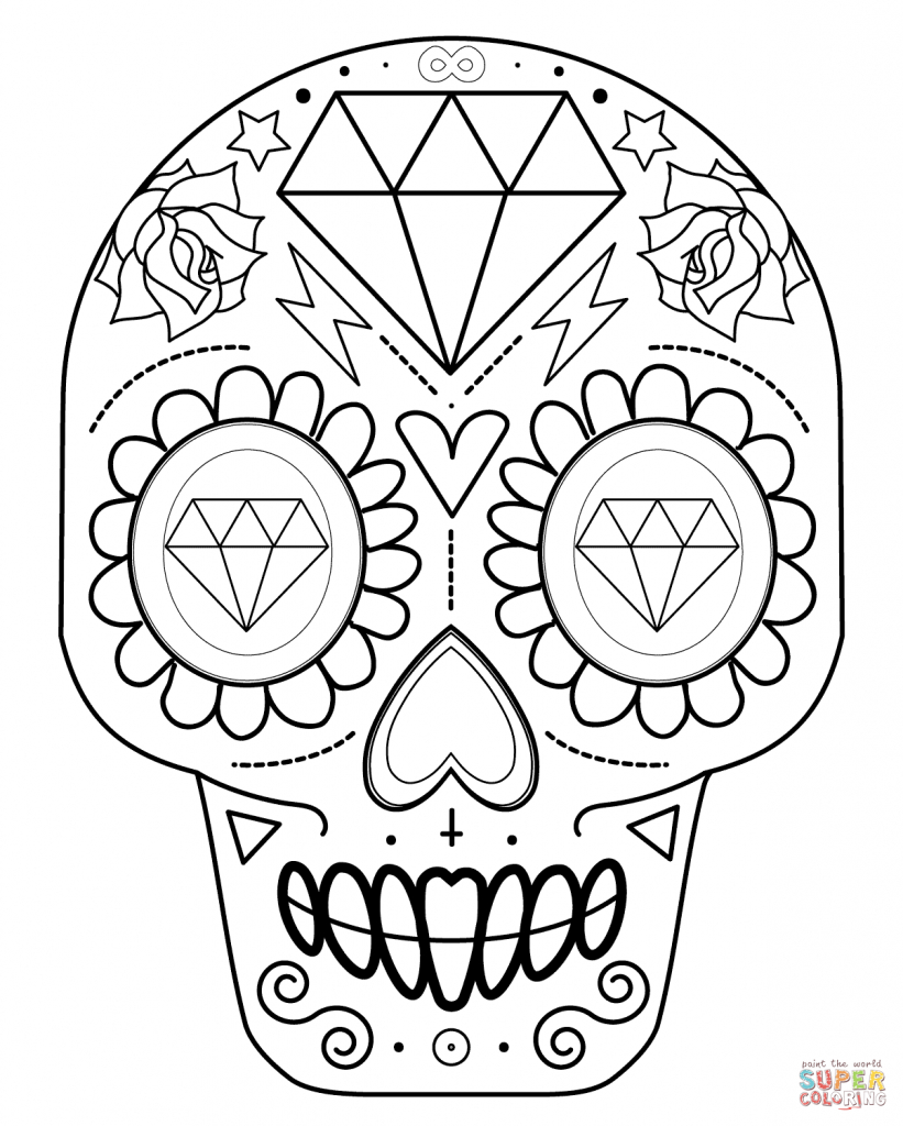 821x1024 Sugar Skull Drawing How To Draw A Sugar Skull Easy Step Step